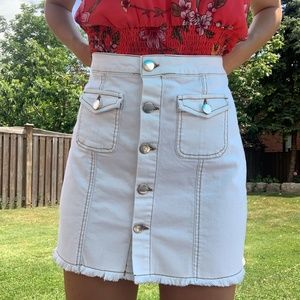white denim button down skirt extremely trendy